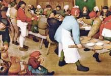 """Pieter Bruegel Il Vecchio (1568 circa) """"Il banchetto nuziale"""" Vienna. Kunsthistorisches Museum. olio su tavola"""