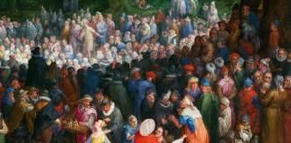 """Jan Brueghel il Vecchio (1598) """"Ill sermone sul monte"""", particolare. Los Angeles, Jean Paul Getty Museum. Olio su tela"""