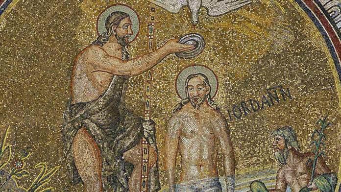 Maestranze romane del Battistero Neoniano (479-475 ) Battesimo di Cristo (particolare), decorazione musiva parietale del Battistero Neoniano, Ravenna
