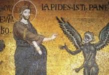 Le tentazioni nel deserto, particolare XII secolo). Palermo, duomo di Monreale, pasta vitrea a mosaico