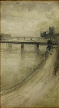 James McNeill Whistler, Westminster from the Savoy, 1896, Watercolor on paper, The Whistler Estate.