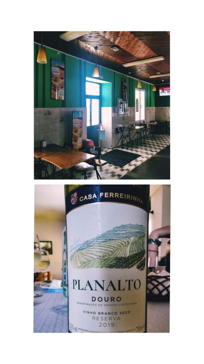 L'interno del ristorante e il vino bianco scelto