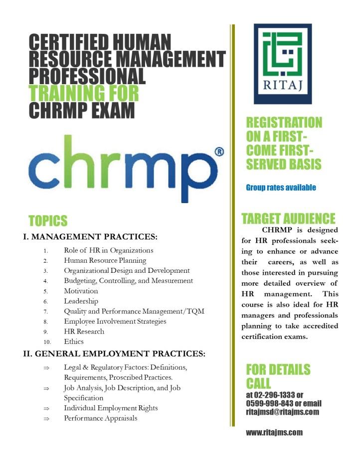 Certified Human Resource Management Professional - CHRMP 2