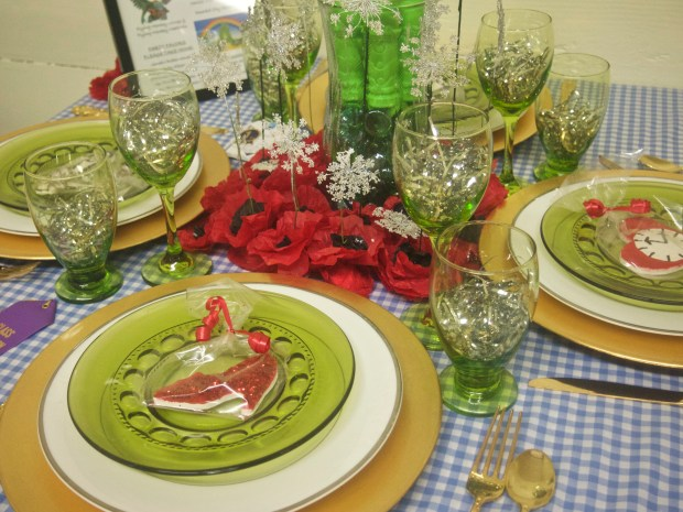 A Wizard of Oz-themed table setting.