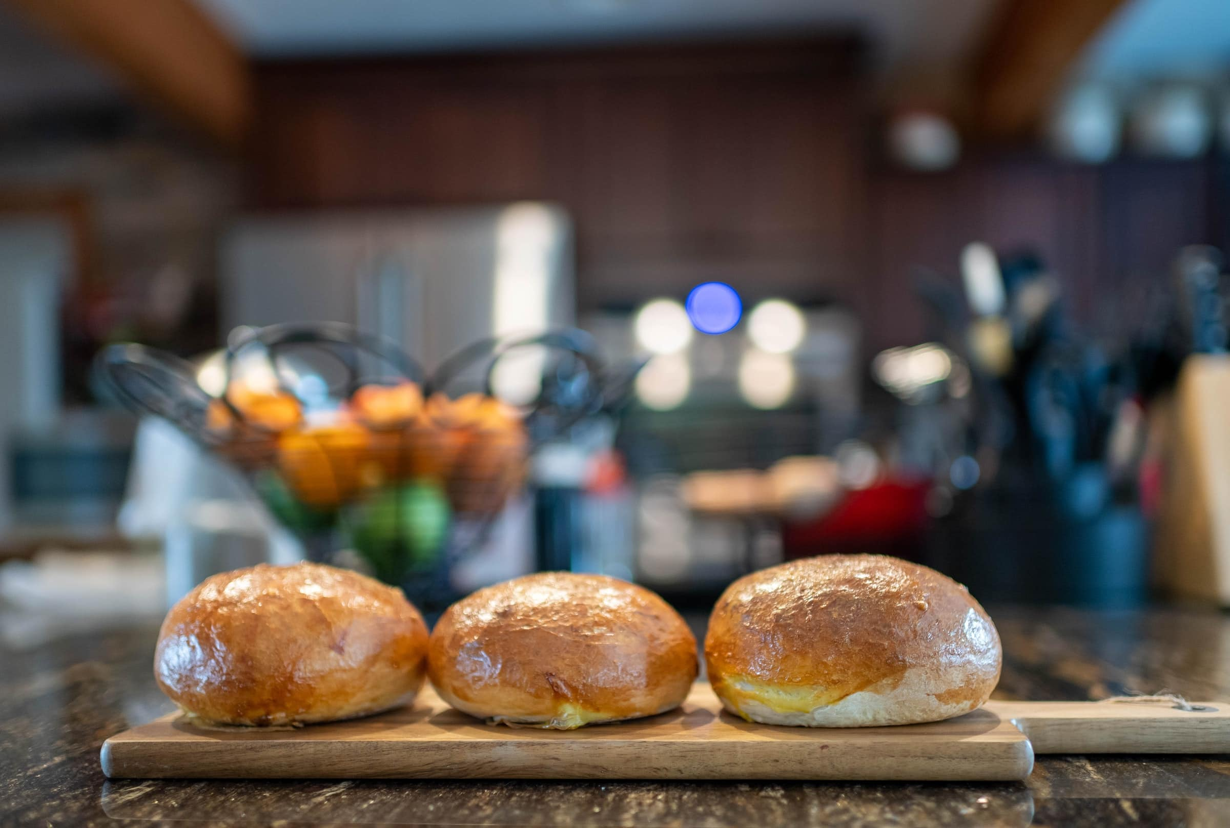 Bread bowls on the counter in Rita's Kitchen.