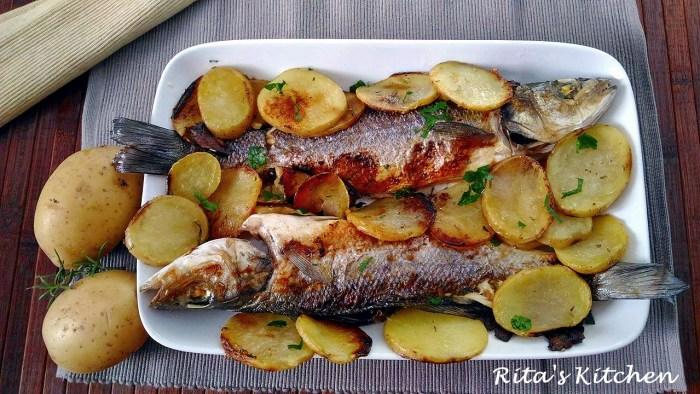 spigola al forno con patate