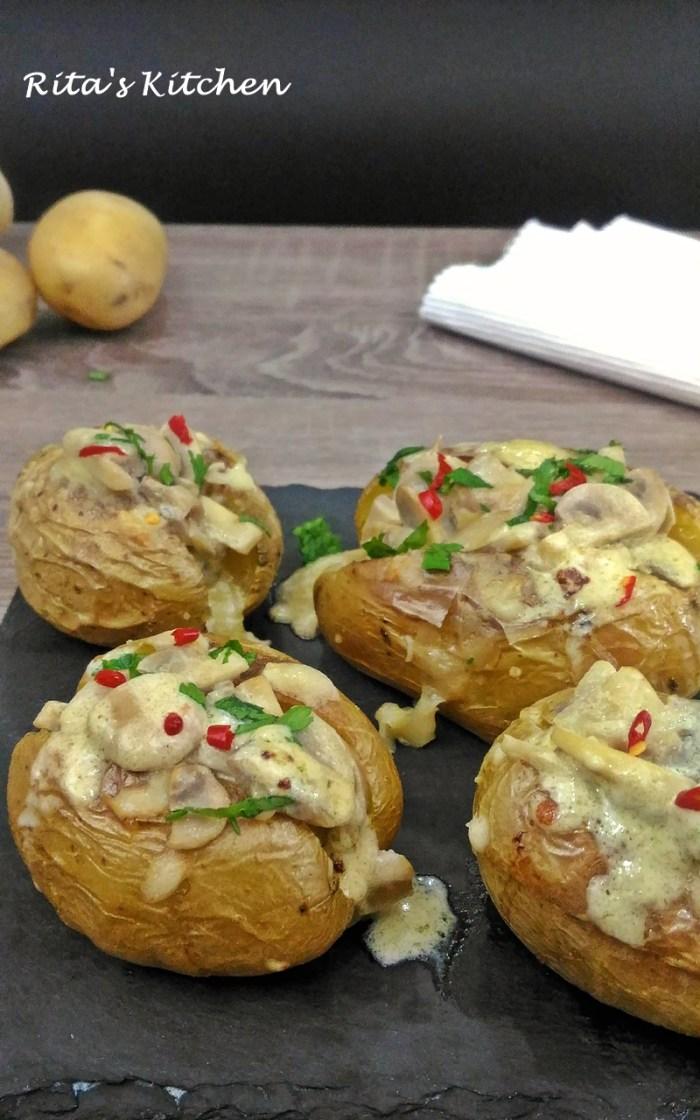 patate al forno ripiene di funghi