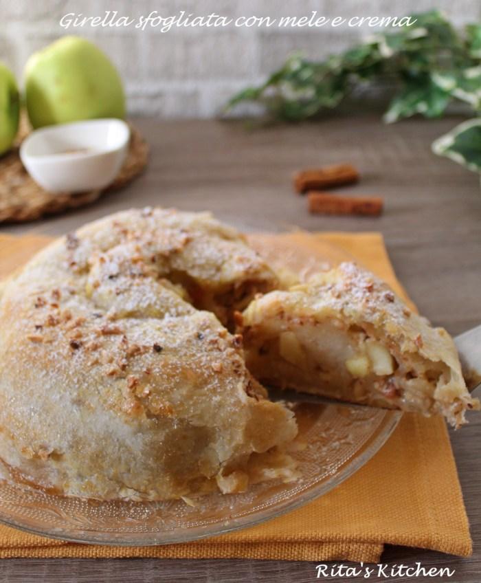 girella sfogliata con mele e crema