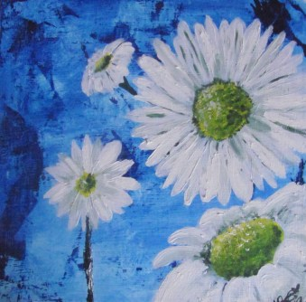 "10 X 10"" Acrylic on Wood Canvas ""Daisy Mania"""