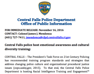 Central Falls police host emotional awareness and cultural diversity training