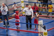 Fynest Cummings, 8 (left), won the bout against Giovanni Perkins, 8 at the West Area Athletic and Education Center in Syracuse, N.Y. on Dec. 10, 2016.