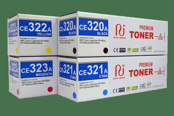 HP Premium Compatible Toner Cartridge 128A ( HP CE320A Black/ HP CE321A Cyan/ HP CE322A Yellow/ HP CE323A Magenta)