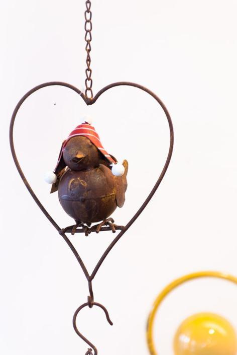 paukščiukas širdutės formos narvelyje