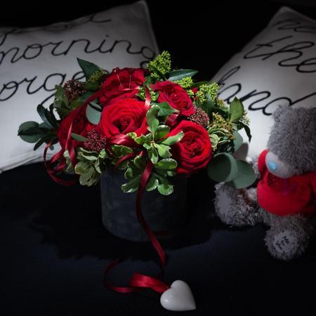 """""""Valentino"""" puokštė dėžutėje"""