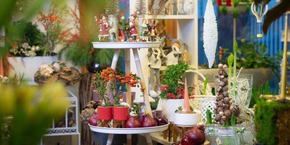 Ritos gėlių Kalėdinio salono interjeras