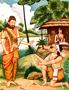 Ekalavya giving his thumb to his teacher, Drona, in Mahabharat