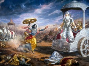 Bhishma forcing Krishna to take up the wheel of a chariot, despite the oath that he would not pick arms in the war