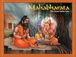 Vyasa and Ganesha writing Mahabharata