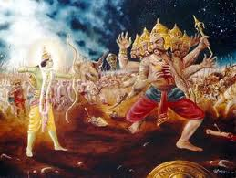 Lord Rama using prasvapana on Ravana (The Ramayana)