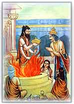 Dashrath performing yagna and receiving prasad from Agni god