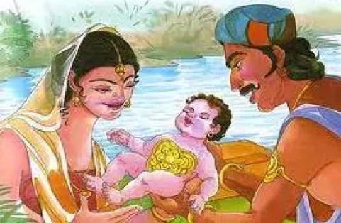 Karna born with Kavach and Kundal