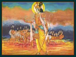 Bhishma leaving his body in presence of Shri Krishna on the day of Makar Sankranti