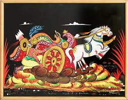 Karna's chariot stuck in mud