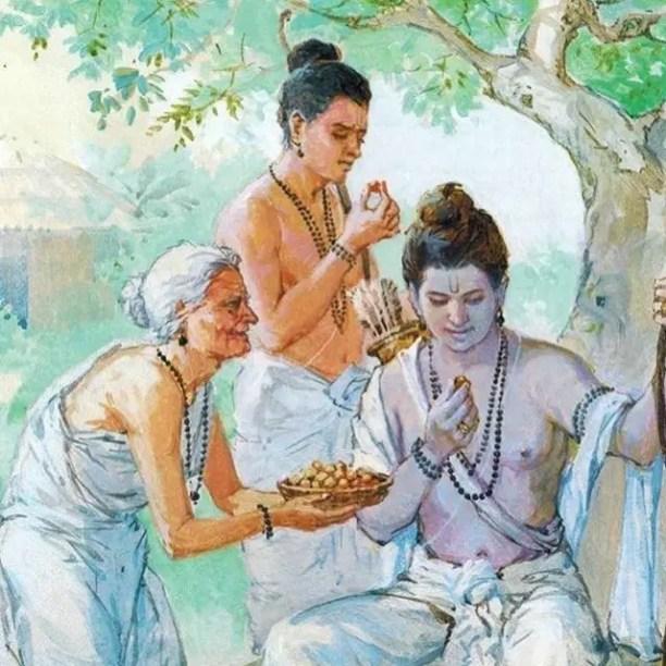 Shabri offering fruits to Rama
