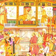 Jehangir court scene in miniature painting