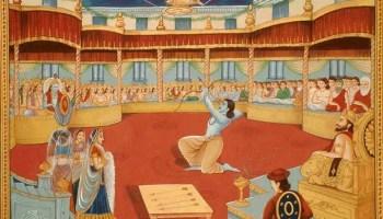 Arjuna winning Draupadi's hand