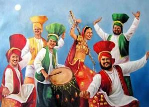 Sikhs celebrating Baisakhi
