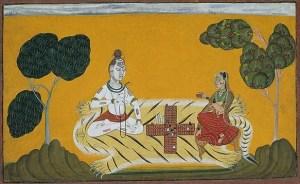 Lord Shiva and Parvati gambling on Diwali
