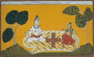 Lord Shiva and Parvati gambling on Diwali