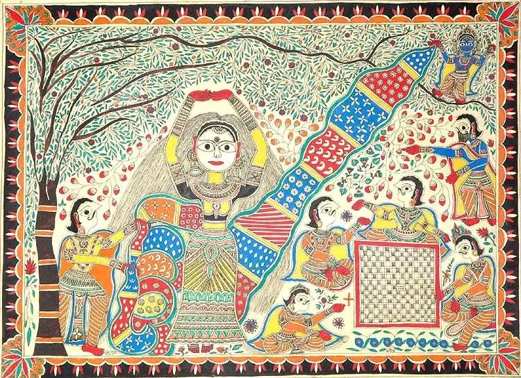 Draupadi cheerharan - Madhubani PaintingDraupadi cheerharan - Madhubani Painting