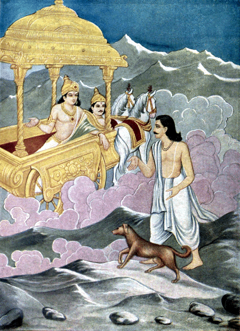 Yudhishthira and Dog to heaven