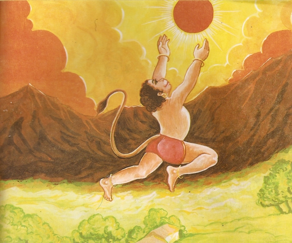 Young Hanuman and Lord Surya