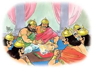 Yudhishthira playing Dice game