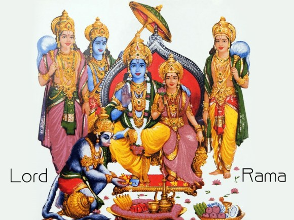 Lord Rama with his brothers, Sita and Hanumana