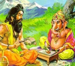 Ved Vyasa and Lord Ganesha, writing Mahabharata together