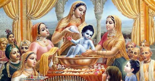Lord Krishna in hsi childhood with Yashoda mata