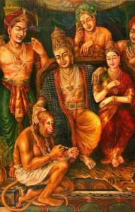 Lord Rama, Sita and Lord Hanumana