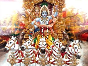 Arjuna and Krishna on chariot