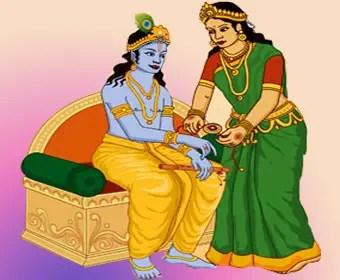 Draupadi tying rakhi to Lord Krishna
