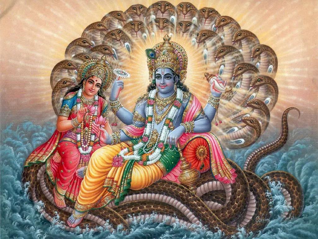 Lord Vishnu And Sheshnaag Indian Mythology