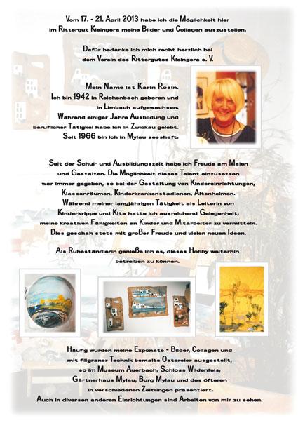 Kunstausstellung von Karin Rosin vom 17.-21.04.2013