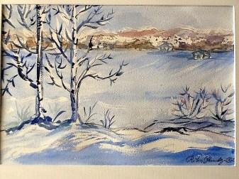 Talvista maisemaa Kempeleen Santamäessä. Akvarelli.