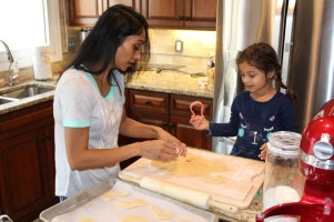 Cutting the sugar cookies