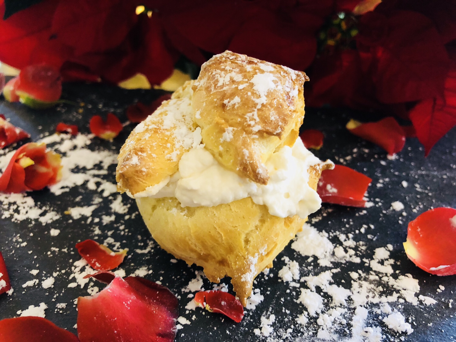 cardamom cream puff with rose water whipped cream