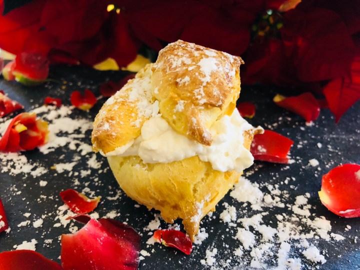 cardamom cream puff with rose water whipped cream