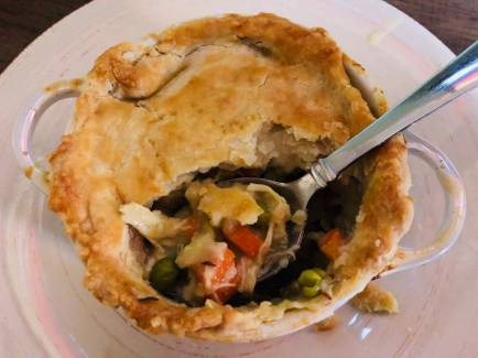 View of Cooked chicken pot pie